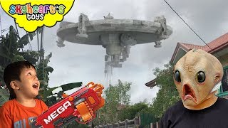 ALIEN INVASION in Toddler's house | Skyheart nerf war with aliens battle fight ufo attack kids