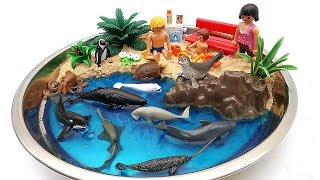Toy Sea Animals Diy Beach Summer Vacation With Sea Animal Education Video For Ki