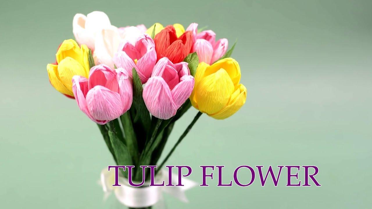 Hướng dẫn làm hoa tulip bằng giấy nhún ĐƠN GIẢN NHẤT | Cách làm hoa giấy nhún