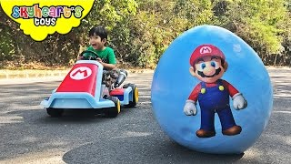 SUPER MARIO Giant Egg Surprise! Luigi, Toad, Bowser, Odyssey Super Mario toys for kids run kart