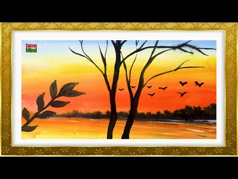Sunset Sky Beautiful Scenery watercolor painting | Easy Landscape Painting