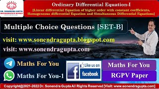 || MCQ || Linear Differential Equation of Higher order || HLDE || Lecture 10 || RGPV || Set B ||