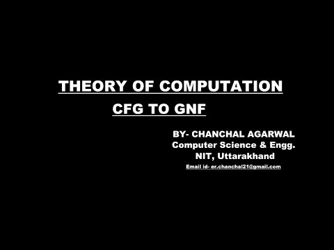 CFG TO GNF|| THEORY OF COMPUTATION