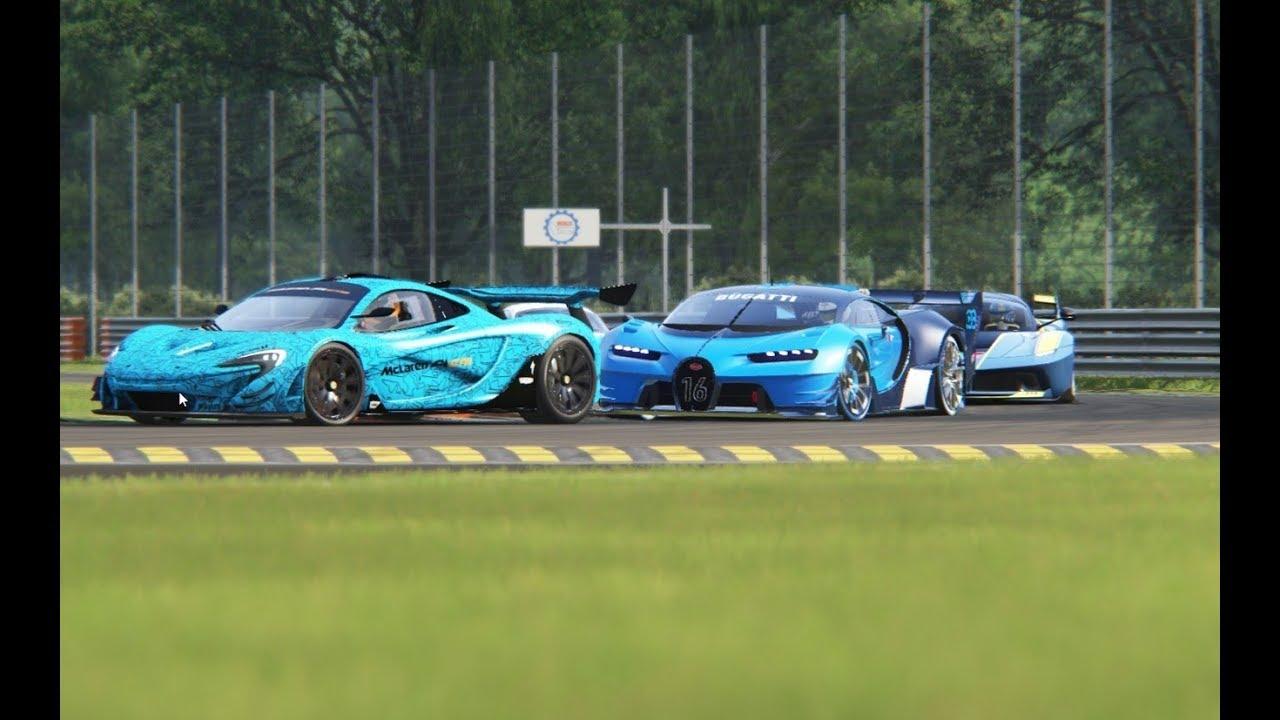 Battle Bugatti Vision GT Vs McLaren P1 GTR Vs Ferrari FXX K Vs Ferrari  LaFerrari At Monza