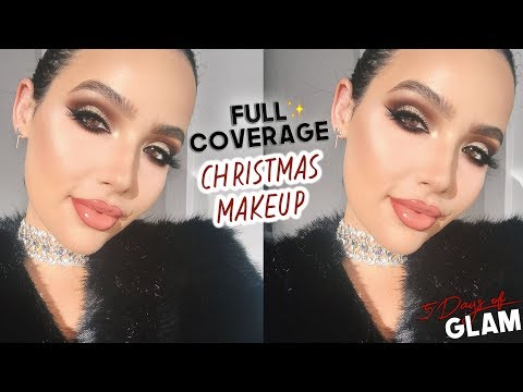 FULL COVERAGE CHRISTMAS MAKEUP TUTORIAL   5 Days of Glam