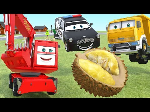 Animated Police Cars Cartoon Excavator Dump Truck Animation for Kids Video