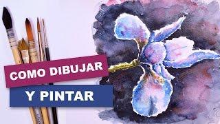 Como dibujar y pintar facil una flor con acuarela