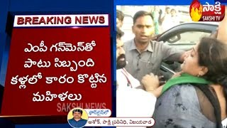YSRCP Bapatla MP Nandigama Suresh Attacked By Women TDP Activists at Amaravati | Sakshi TV