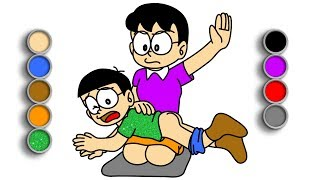 Gambar cover Learn drawing and coloring | How to draw Nobita with Mom | Toy Art Kids TV