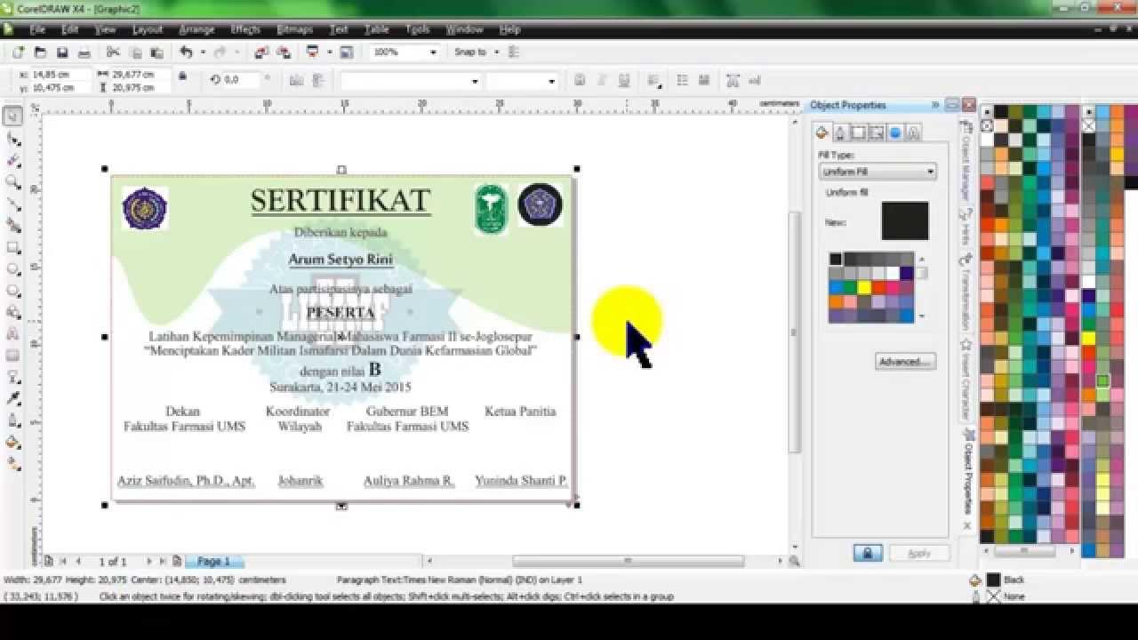 Contoh Mendesain Sertifikat Workshop Seminar Di Corel Draw Belajar
