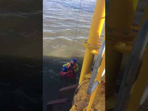 GWO sea survival safe descent from an offshore wind turbine