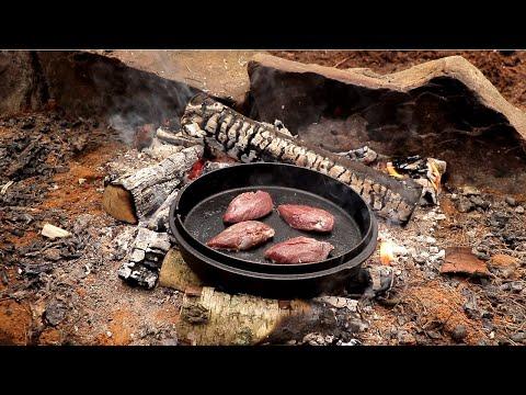 Bushcraft Camp: Cooking Pigeon | Field Dressing, Axe, Knife, Cast Iron Roast