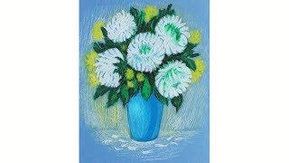 Как нарисовать  цветы ХРИЗАНТЕМЫ пастелью Уроки рисования | Art School