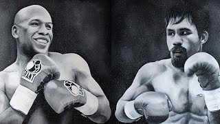 Artists Painting of Mayweather and Pacquiao Ahead of Super Fight