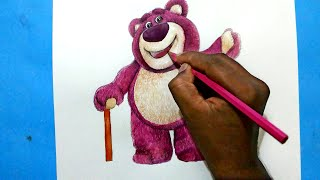 How to draw lotso huggin bear from toy story-3