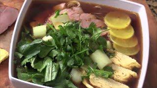 Marinated Pork Tenderloin, Tamagoyaki, Bok Choy Noodle Soup