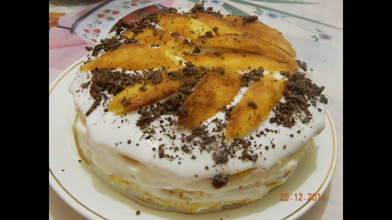 Торт домашний со сметанным кремом из михайловского
