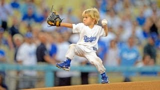 3 year old boy throws best first pitch at MLB game - baseball prodigy Christian Haupt at LA Dodgers