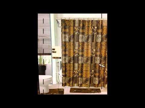LEOPARD BROWN Bathroom Rug Shower Curtain Mat Rings Towel Set