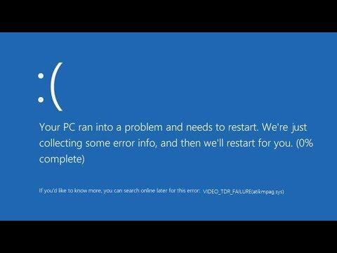 VIDEO TDR FAILURE (atikmpag.sys) Mavi Ekran - Çözüm