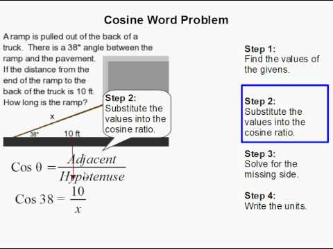 how to use cosine to solve a word problem youtube. Black Bedroom Furniture Sets. Home Design Ideas