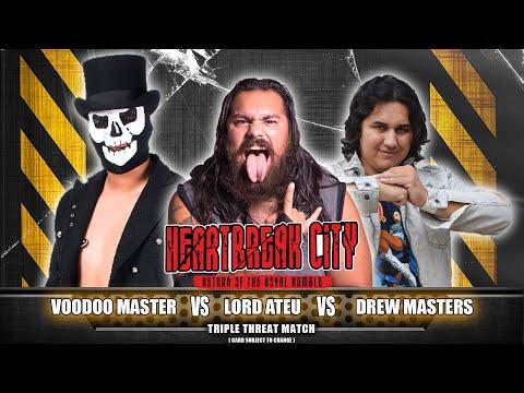 VOODOO MASTER vs LORD ATEU vs DREW MASTERS: OCCW - HEARTBREAK CITY 2018