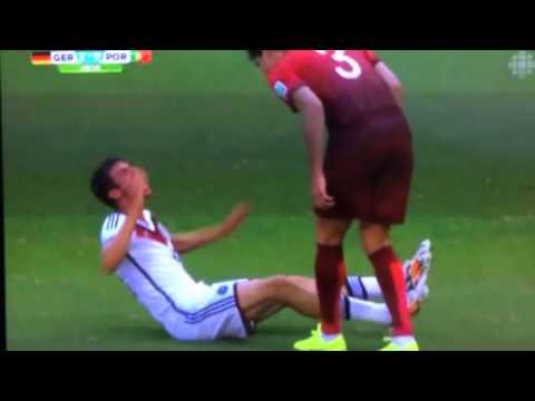Muller's fake injury - Pepe's headbutt