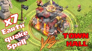 Clash Of Clans - EARTHQUAKE SPELL VS. TOWNHALL ( NEW UPDATE!!)