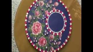 Wedding trays with mirrors and kundan st...