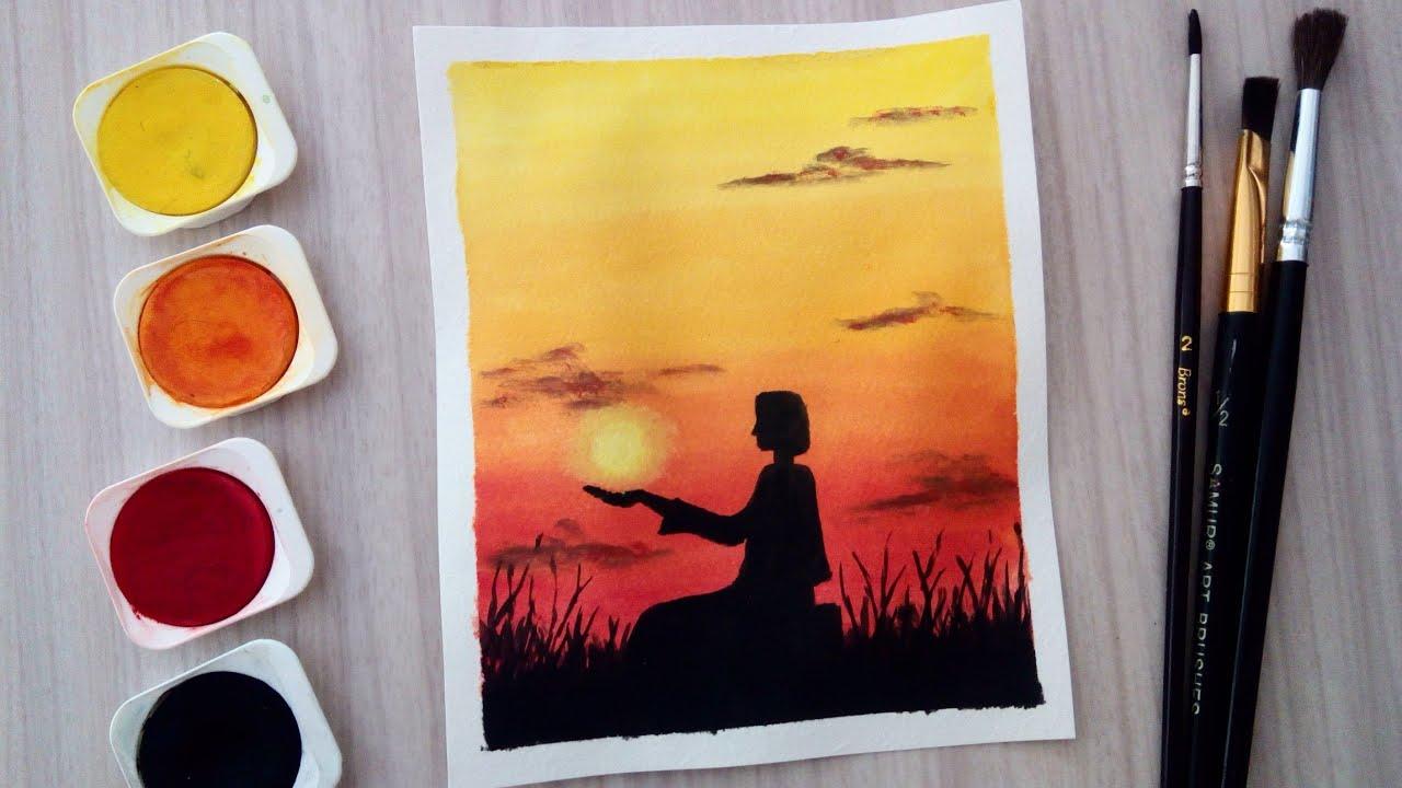 Yeni başlayanlar için suluboya günbatımı ve sandal | Watercolor painting beginners sunset and boat
