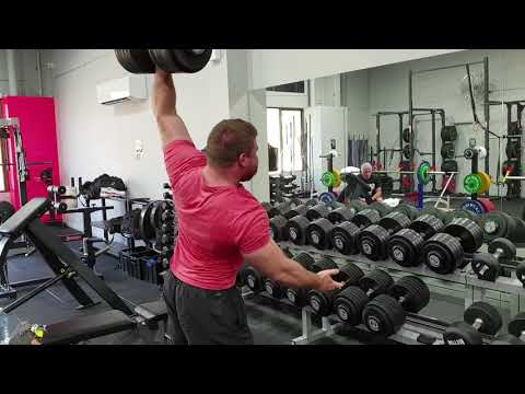 132 lbs / 60 kg One Arm Dumbbell Shoulder Press - Laird Ross
