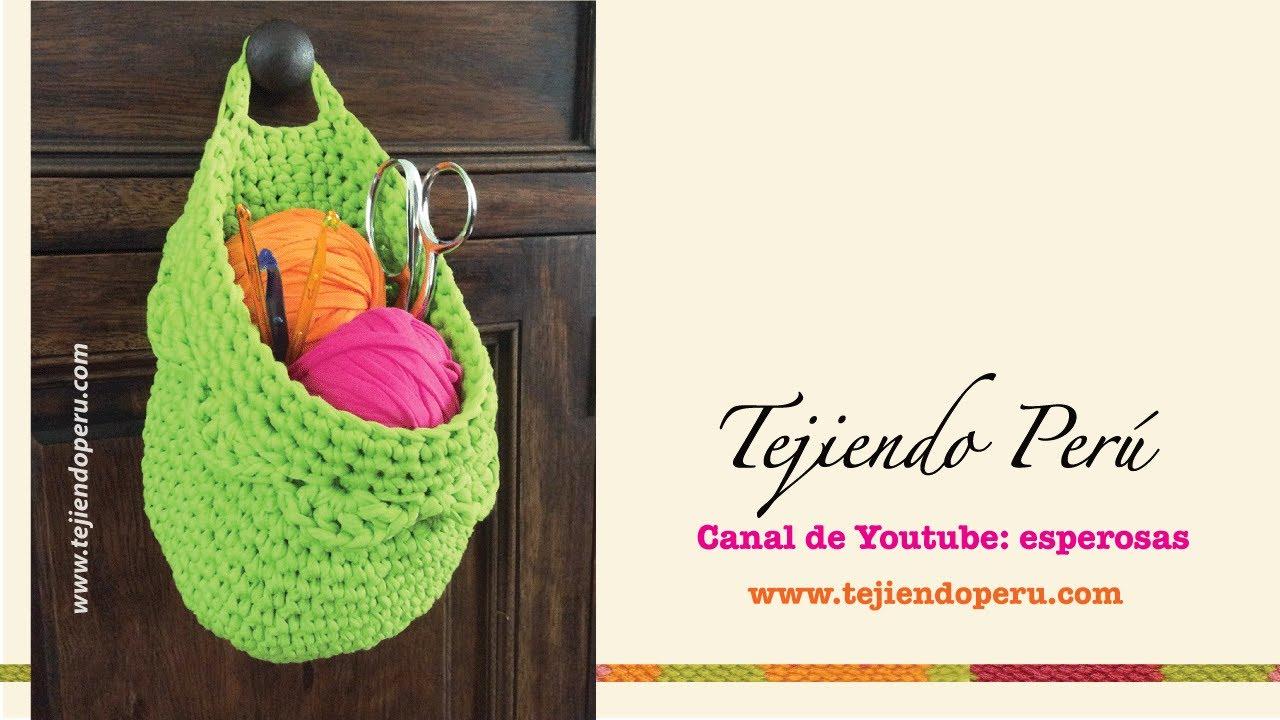 Canasta colgante organizadora tejida en crochet XL en trapillo ...