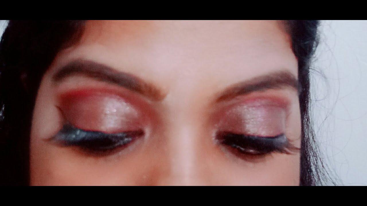 Beginners Eye Makeup Look Burgundy Eye Look Simple And Easy Maroon Love Eye Makeup Tutorial Youtube