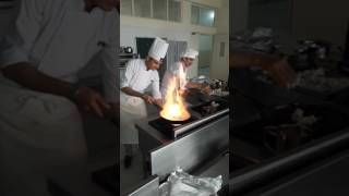 Chef sahil verma cooking continental food in kitchen