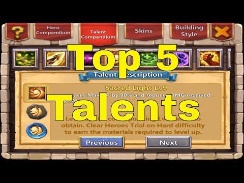 Castle Clash Top 5 Talents