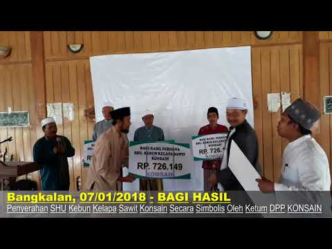 Penyerahan Sisa Hasil Usaha (SHU) Perdana Kebun Kelapa sawit Konsain Untuk Anggota Konsain Wilayah Jatim
