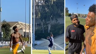 Cam Newton & Odell Beckham Jr LINK With Blueface For Workout, Blueface Still Has QB SKILLS!