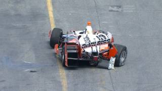 REPLAY: Juan Pablo Montoya makes contact with the turn 11 wall in Toronto