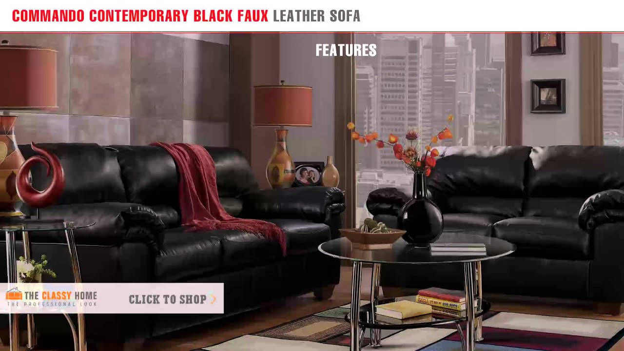 mando Contemporary Black Faux Leather Sofa by Signature Design