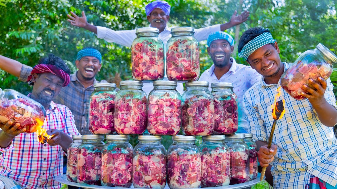 Download COOKING in GLASS JAR | Canning Meat Recipe Cooking in Village | Simple Delicious RAW Meat Recipe