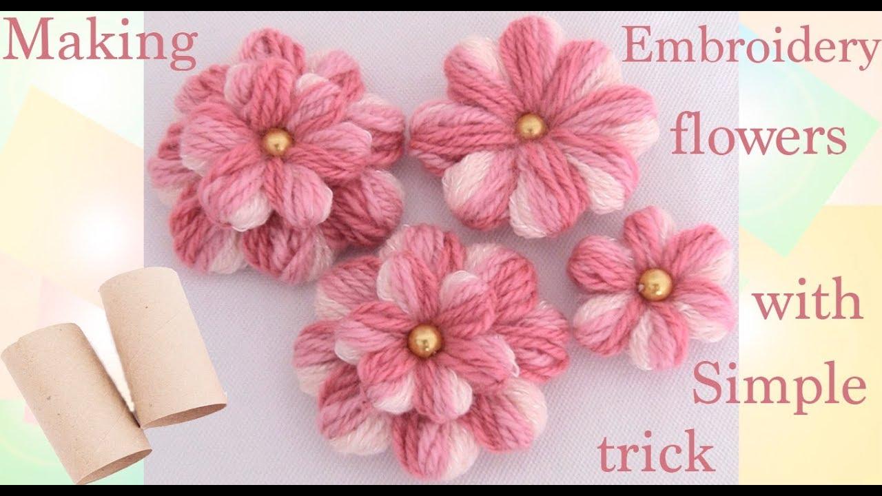 Como hacer flores con un peque o truco embroidery making - Arbusto pequeno con flores ...