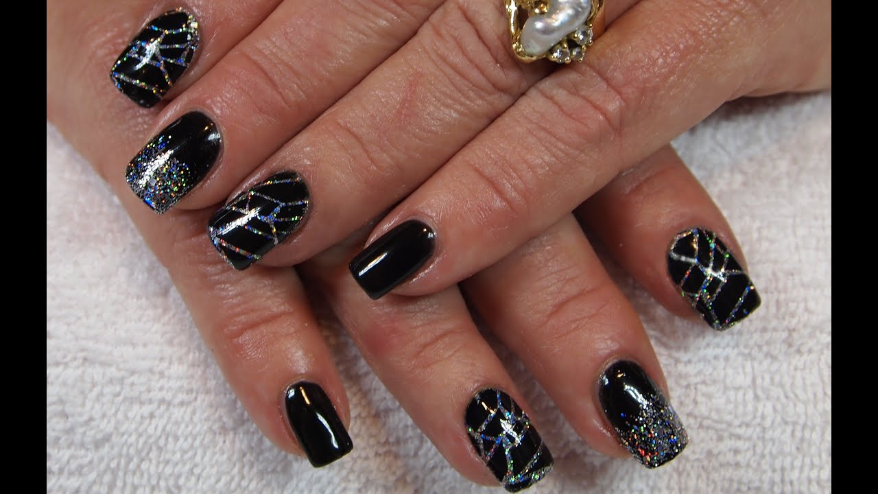 Stunning Black Gel Nails With Holo Silver Glitter Amp Stamping Youtube