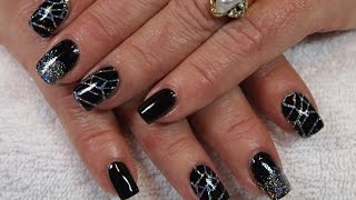 Stunning Black Gel Nails with Holo Silver Glitter & Stamping