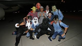 FC Barcelona players celebrate Halloween after beating Getafe