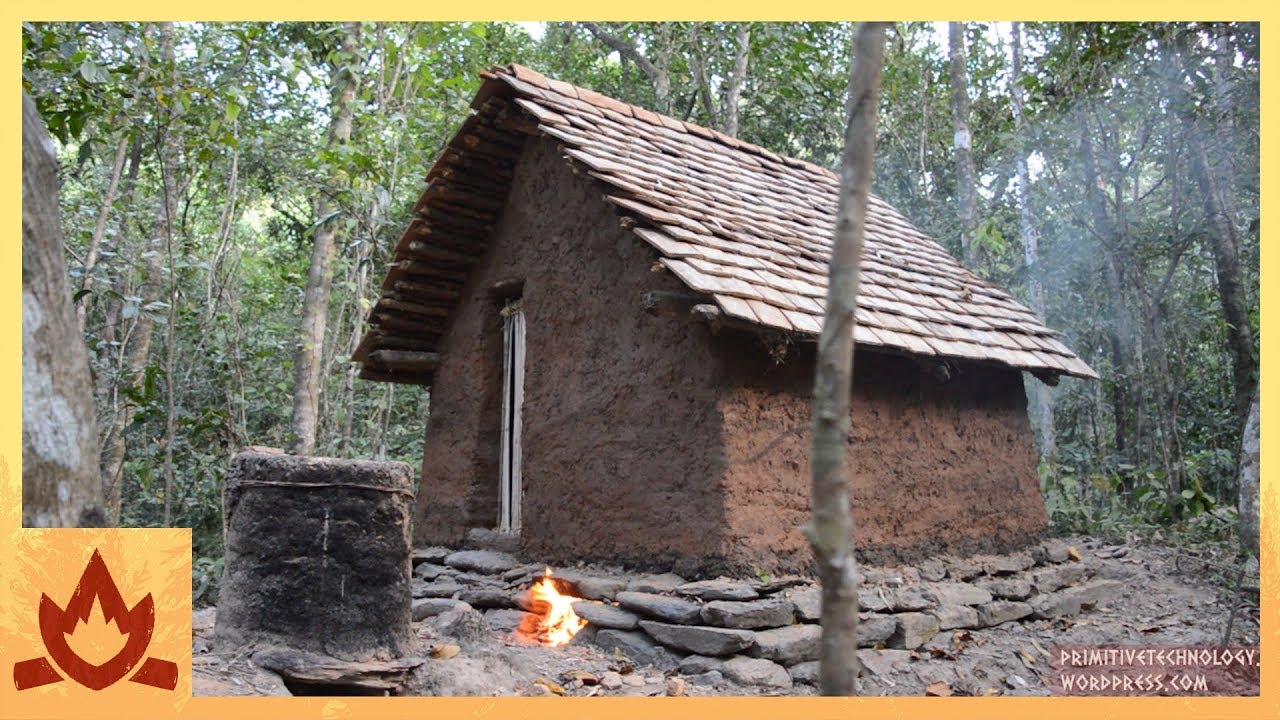 Primitive Technology Tiled Roof Hut YouTube
