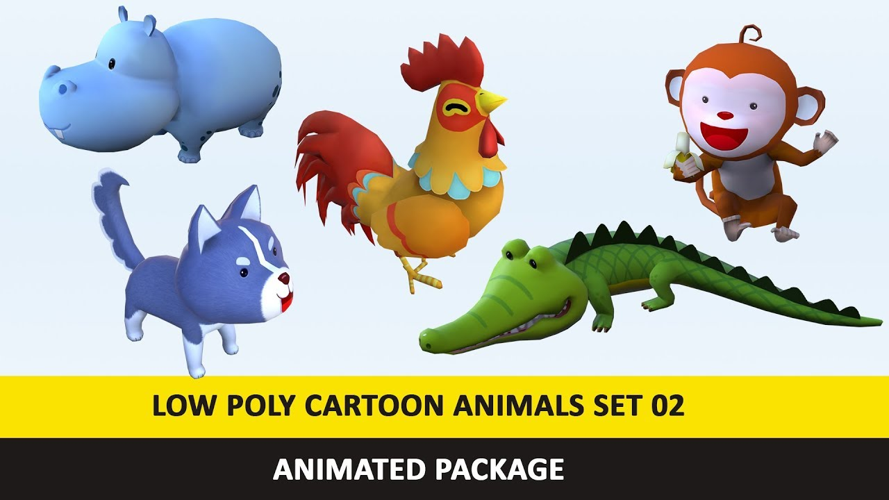 Cartoon Cute Animals Low Poly Pack - 02 Low Poly Unity 3D Model