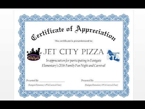 how to make formal certificate of appreciation award with ms word youtube