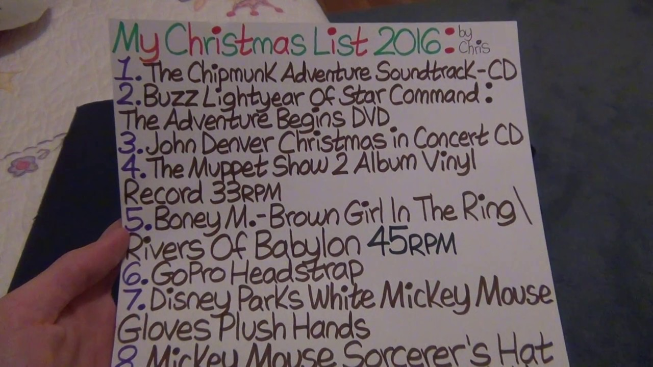 my christmas list for 2016 remake - My Christmas List