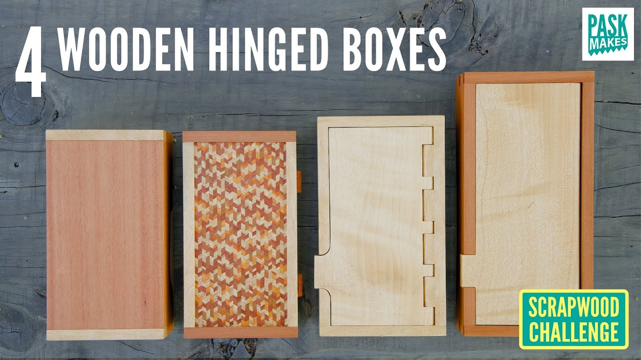 4 Wooden Hinged Boxes Pt2 - Scrapwood Challenge ep42