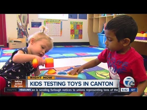 Kids in Canton testing toys